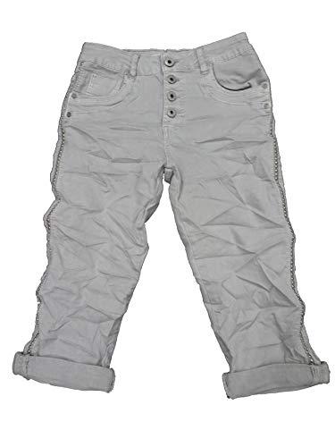 Karostar by Lexxury Damen Baggy Boyfriend Stretch Shorts Bermuda Capri Krempel Hose Knopfleiste Nieten XL-42 grau