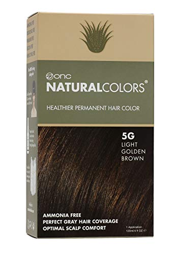 ONC NATURALCOLORS (5G Light Golden Brown) 4 fl. oz. (120 mL) Permanent Hair Dye with Certified Organic Ingredients, Ammonia Free, Vegan Friendly, 100% Gray Coverage