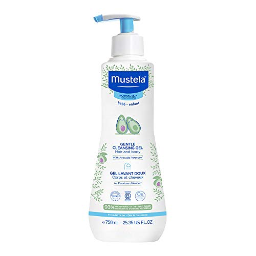 Mustela Baby Gentle Cleansing Gel - Baby Hair & Body Wash - with Natural Avocado fortified with Vitamin B5 - Biodegradable Formula & Tear-Free – 25.35 fl. oz.