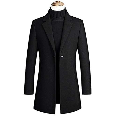 OJKYK Herren Warm Wollmantel Lang Mantel Einreiher Winter Jacke Business Trenchcoat Winterjacke,Navy Blue,3XL