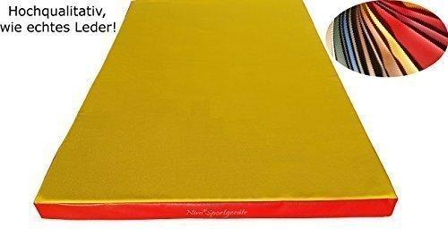 NiroSport Weichbodenmatte 150 x 100 x 8 cm Turnmatte Gymnastikmatte Fitnessmatte Sportmatte Trainingsmatte Bodenmatte Schutzmatte Übungsmatte wasserdicht, Rot/Grün