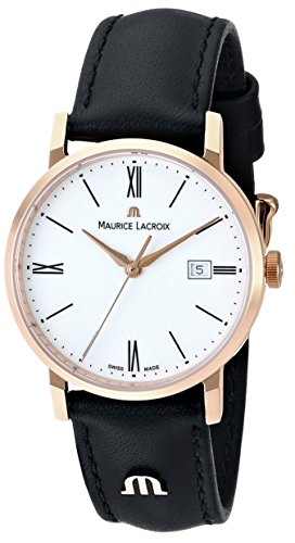 Maurice Lacroix Women's EL1084-PVP01-110 Eliros Stainless Steel Watch with Black Leather Band