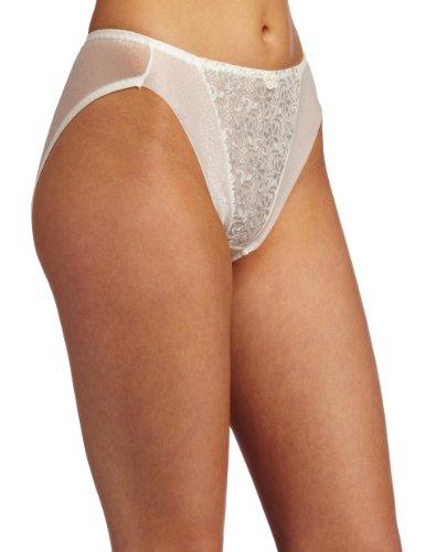 Carnival Womens High Cut Tux Bikini Panty, Ivory, Large