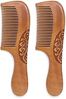 Wooden Hair Combs 2 PACK, Anti-Static, Detangling Wide Tooth Comb, Great for Hair, Curly Hair, Normal Hair, Beard, Mustach...