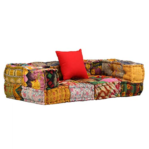 Tidyard Sofá Cama,Sofás de salón,Sofá Modular con reposabrazos de 2 plazas de Tela Patchwork 140 x 70 x 40 cm