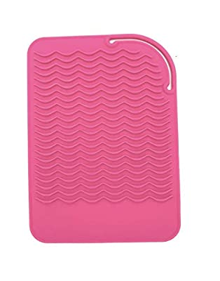 "Heat Resistant Mat for Curling Irons, Hair Straightener, Flat Irons and Hair Styling Tools 9"" x 6.5"", Food Grade Silicone, Pink"