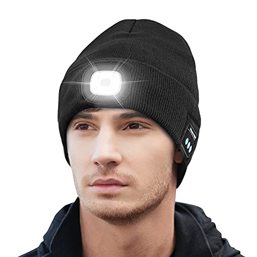 Keains Unisex Bluetooth Beanie Hat with Light, Upgraded Musical...