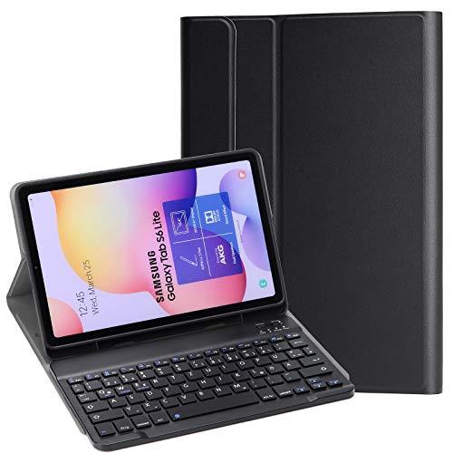 KILISON Tastatur Hülle für Samsung Galaxy Tab S6 Lite 10.4 [QWERTZ Layout], Abnehmbare Bluetooth Keyboard Case Tasche für Samsung Galaxy Tab S6 Lite 10,4 SM-P610/ P615 2020, Schwarz