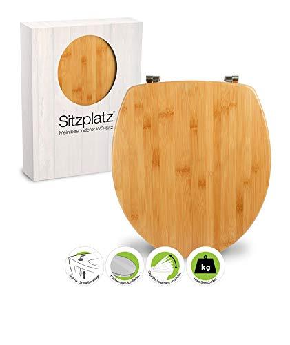 SITZPLATZ® WC-Sitz, Holz Dekor Bambus, Holz Toilettensitz mit Echtholz-Kern & Fast-Fix Schnellbefestigung, Standard O Form universal, Metallscharniere, Echtholz WC Deckel, 40592 8
