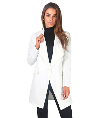 KRISP Blazer Donna Giacca Elegante Taglie Forti Lunga Oversize Boyfriend Classico Cerimonia Ufficio Size, Bianco, S, 5403-WHT-S