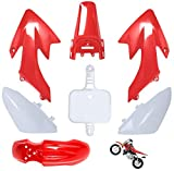 CRF50 Plastic Kit Red XR50 Plastic Fender Kit,Crf50 Plastic kit Set,compatible with HONDA XR 50 CRF 50 SDG SSR 107 110 125 Pit Dirt Bike M PS03-Red by Lucky Seven