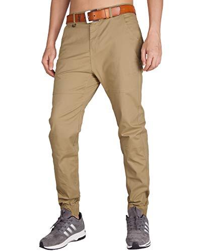 ITALYMORN Jogginghose Hosen für Herren Slim Fit Chinohose Casual Stretch Stoff Hose mit Elastischen Manschetten(32, Khaki)