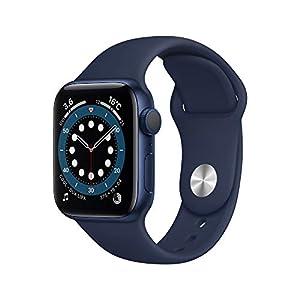 最新 AppleWatch Series 6(GPSモデル)- 40mmブルーアルミニウムケースとディープネイビースポーツバンド