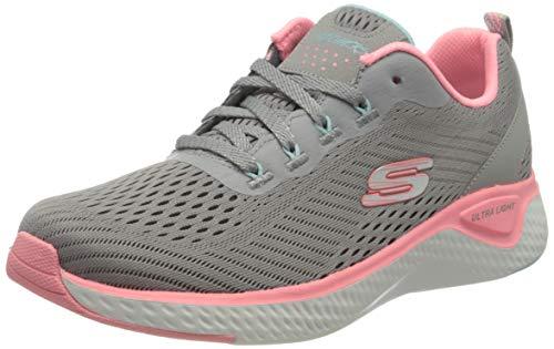 Skechers Damen Solar Fuse Cosmic View Sneaker, Grau Grau Mesh Pink Mint Trim Gypk, 38 EU