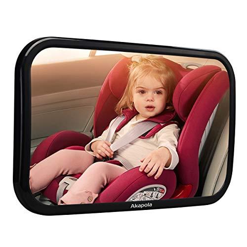 【Nuova Versione】 Akapola Specchietto Retrovisore Bambini, Specchio Auto Bambino, Specchietto Regolabile Neonato, Rotazione Flessibile 360 °, Superficie Curva per Un'ampia Visuale, Anti-Oscillation