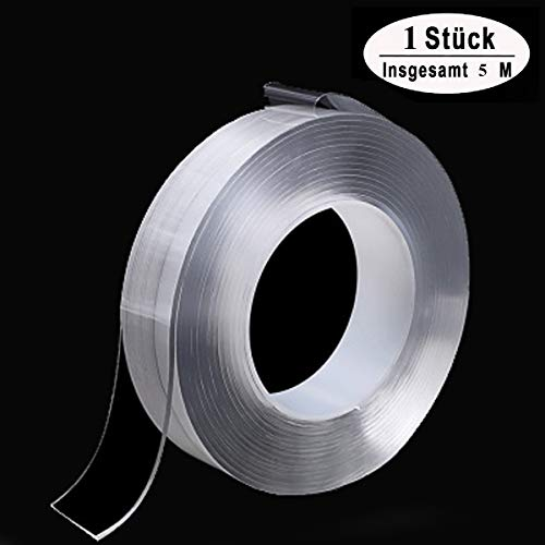 Spurloses Doppelseitiges Gel Klebeband Waschbares Transparent Nano Tape Anti-Rutsch Wiederverwendbare Klebstoff Klebeband Multifunktionales Abnehmbarer Durchsichtige Band (5 m lang, 3 cm breit)