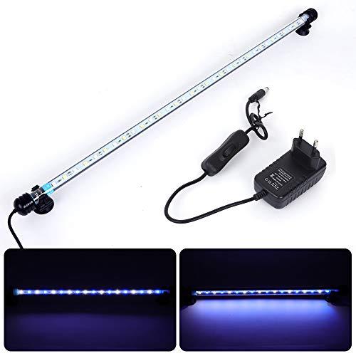 MLJ Acuario LED Iluminación, Iluminación LED para Acuarios Plantados Lámpara LED para Peceras Resistente al Agua Luz para (Deutschland Lagerhaus) (62cm, Blanco y Azul)