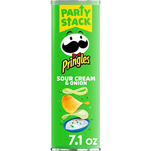 Pringles Potato Crisps Chips, Lunch Snacks, Snacks On The Go, Party Stack, Sour Cream and Onion, 7.1oz Can (1 Can)