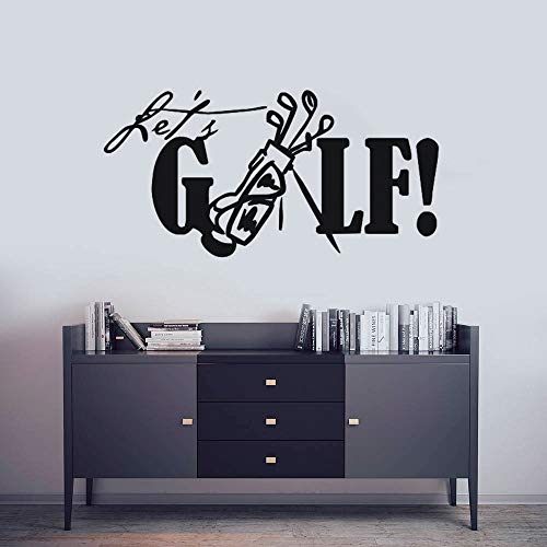 Wopiaol Afneembare Golf Muursticker Laat ons Golf Quote Muursticker Sport Golf Club Muurschildering Wooncultuur Creative Golf Vinyl Sticker Een 84x42 cm