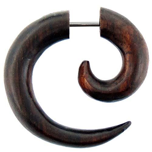 CHICNET Piccolo orecchino a spirale in stile tribale realizzato in legno Sono marrone, finto piercing   Orecchino unisex