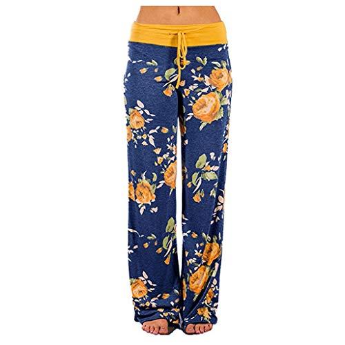 Pantalon pour Femme, YUYOUG 2020 Pantalon Femme Taille Haute Confortable Extensible Imprimé Floral Cordon De Serrage Palazzo Pantalon De Jambe Large