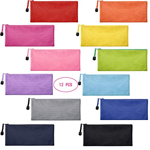 Sailing-go 12 Pieces 12 Colors Zipper Waterproof Bag Pencil Pouch for Cosmetic Makeup Bills Office Supplies Travel Accessories and Daily Household Supplies