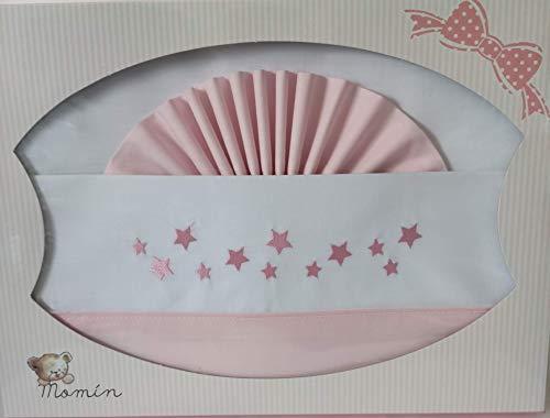 Juego de Sabanas 100% algodón para Cuna de Bebe 60x120. Estrellas-Rosa