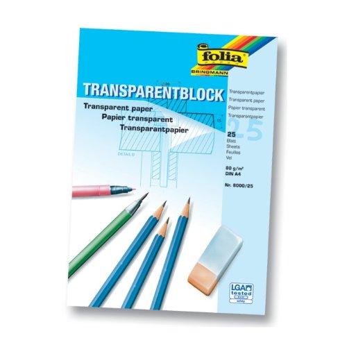 Transparentpapierblock A4 25BL FOLIA 8000/25 80G