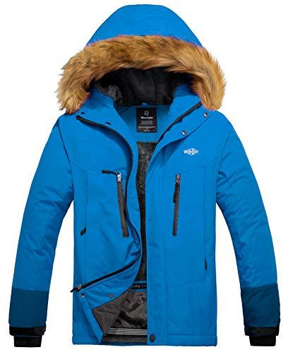 Wantdo Men's Mountain Jacket Fleece Winter Coat Faux Fur Collar Acid Blue S