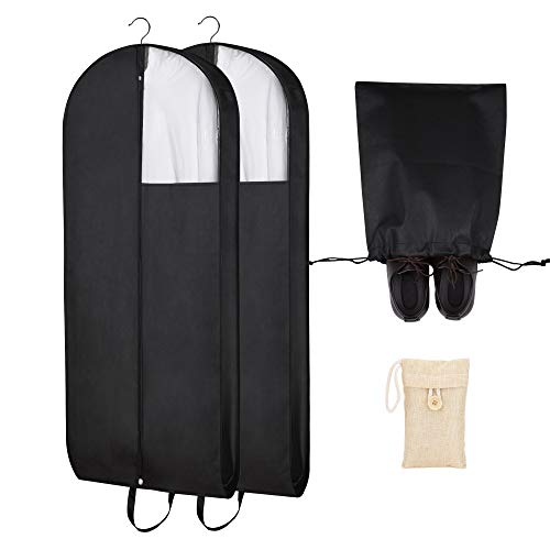 Garment Bags - BONUS: Closet Deodorizer and Shoe Bag - Clothing protection from dust and moth; storage of dresses, suits and coats; clear window...