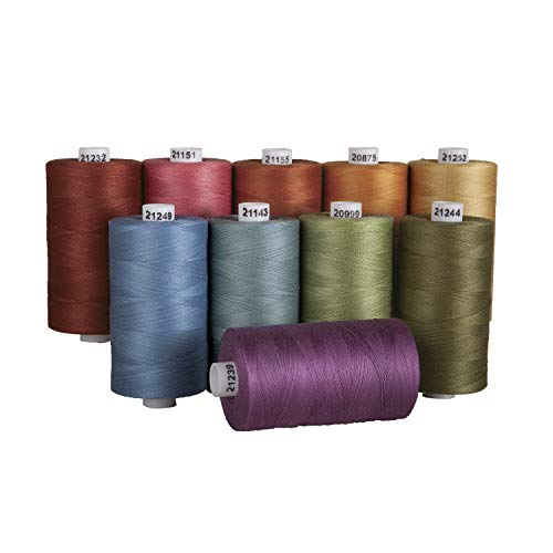 Connecting Threads 100% Cotton Thread Sets - 1200 Yard Spools (Set of 10 - Country Garden)