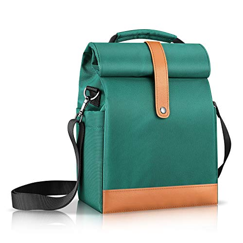 SITHON Reusable Lunch Bag  Cooler Tote Box  Waterproof and Insulated Interior  Stain Resistant Exterior  Keeps Food and Drinks Cold  Adjustable Strap  Perfect for Women Men and Kids Green