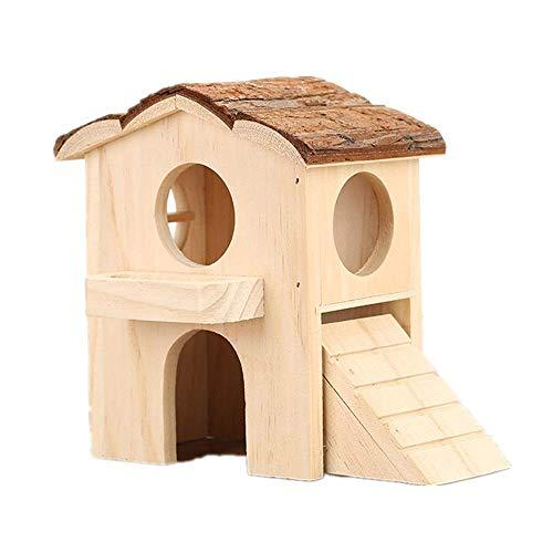 Hamster Haus aus Holz Hamster Haustierkleintier Hideout Hamster Haus zwei Schichten Hut Spielen Spielzeug Cages Pens (Farbe: Stellen Sie Farbe, Größe: 11x7.5x15cm) ZHANGKANG