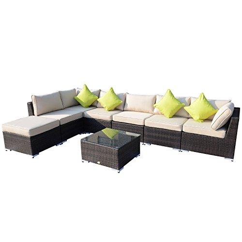 Outsunny 8pc Rattan Sofa Garden Furniture Aluminium Outdoor Patio Set Wicker Seater Table - Mixed Brown