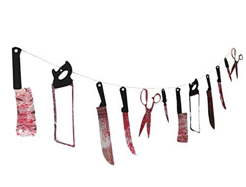 DATO Horreur Guirlande Fanions Armes Sanglantes Plastique Ensanglanté Halloween Decoration Halloween Horreur Peur Prop Décorations de fêtes
