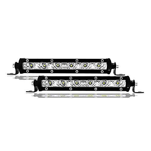 JCMYSH DIRIGIÓ Bombillas de Faros Trabajo de conducción Luces de Tira de Techo de Luces de Carretera modificadas 2PCS 7 Pulgadas 18W Fila de Luces de Tira de LED para Faros de Coche