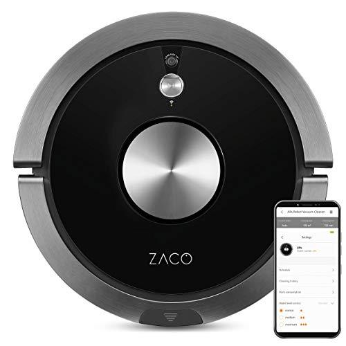 ZACO A9s Saugroboter mit Wischfunktion, App und Alexa Steuerung, 2 Std Laufzeit, für Tierhaare, 3in1 Hartböden wischen, Teppiche staubsaugen und bürsten, Roboterstaubsauger mit Ladestation, schwarz