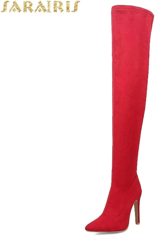 HOESCZS 2018 nagelneue große Größen 31-43 Damenschuhe Stiefel Stiefel Stiefel dünne High Heels Over-The-Knie Damenstiefel Rot Schwarz Party Schuhe,  091c47