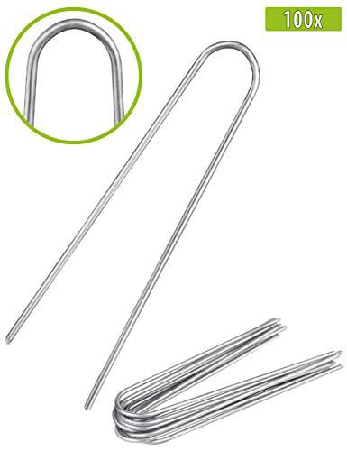 100x Anti-ROST Erdanker - Runder Kopf | Erdnägel | Bodenanker aus verzinktem Stahl zur Befestigung von Unkrautvlies | Gartenvlies | Unkrautfolie | Zaun & Netz oder fürs Camping - (100, 200x25x3,8 mm)