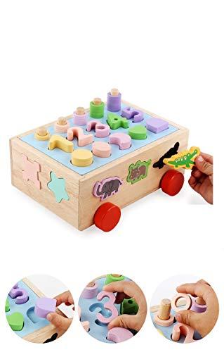 Lalia Kubus Nachzieh Spielzeug Holz-Bauklötze Steckspiel Motorik-Spielzeug perfekt für Kleinkinder ab 2 Jahre Viele bunte Teile. Würfel Holzspielzeug Jungen und Mädchen