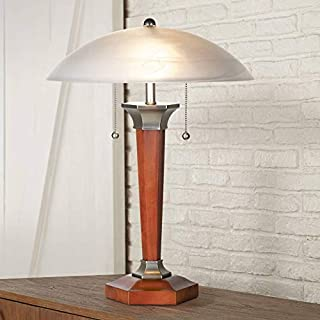 Art Deco Accent Table Lamp Walnut Solid Wood and Nickel Off White Frosted Glass Dome Shade for Living Room Bedroom Bedside Nightstand Office - Regency Hill