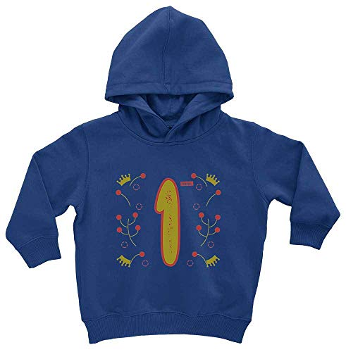 HARIZ HARIZ Baby Hoodie Geburtstag Mädchen Krone Sterne 1 Geburtstag Kinder Baby Plus Geschenkkarten Royal Königs Blau 1-2 Jahre