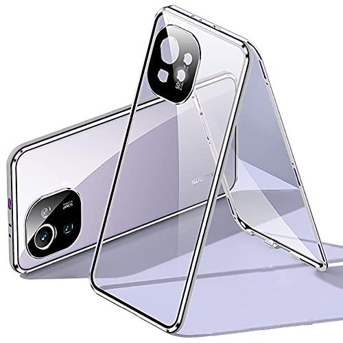Compatibel met Xiaomi Mi 11 shell-adsorptietype magnetische metalen frame-afdekking transparante voor en achter geharde glazen doos 360 graden full-body beschermende doos flip-cover,Zilver