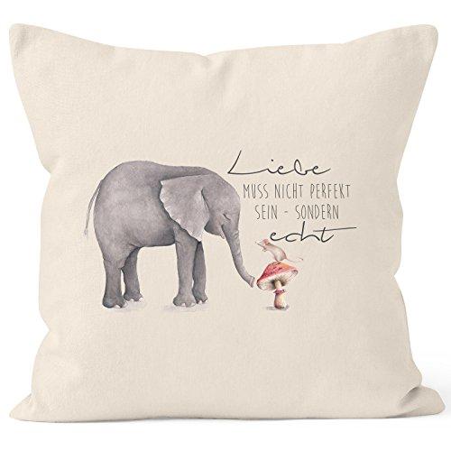 MoonWorks Kissenbezug Geschenk Liebe muss Nicht perfekt Sein sondern echt Elefant Maus Kissen-Hülle Deko-Kissen 40x40 Baumwolle Natur 40cm x 40cm