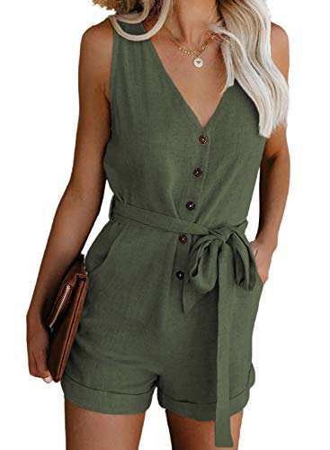 Dokotoo Womens Romper Plus Size Ladies Casual Loose One Piece Sleeveless Pocketed V Neck Front Button Down Linen Plain Rompers for Women Summer Short Jumpsuits with Belt Olive Green XL