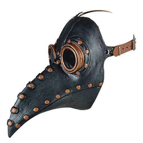 VALICLUD Halloween Lange Nase Vogel Schnabel Pu Leder Pest Arzt Kopfbedeckung Gothic Steampunk Mittelalterliche Schnabel Maske