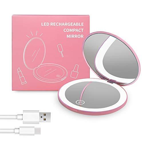 Wobsion LED wiederaufladbarer Kompaktspiegel Taschenspiegel Handspiegel mit 1X / 10X Vergrößerung Kosmetikspiegel Licht Einstellbar Make-Up Spiegel Tragbar Kompaktspiegel für Reise Unterwegs (Rosa)