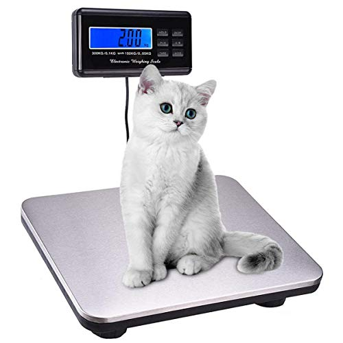 """Paddie Shipping Scale 660lbs LCD Digital Platform Heavy Duty Portable Stainless Platform for Shipping Postal W/ 14""""X 12"""" 300kg Capacity"""