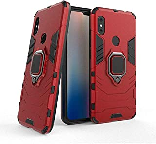 Xiaomi Redmi Note 6 Pro Iron Man Case With Metal Ring & Magnetic Car Holder - Red