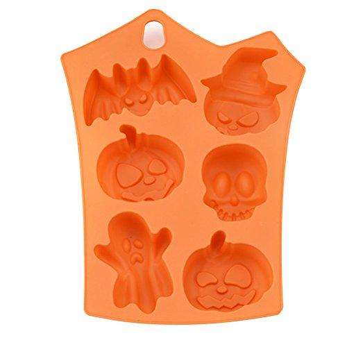 ounona molde para repostería de silicona molde para Cupcake para Halloween 6calabazas moldes para Fondant de chocolate para moldes para dulces molde para tarta de chocolate (Naranja)